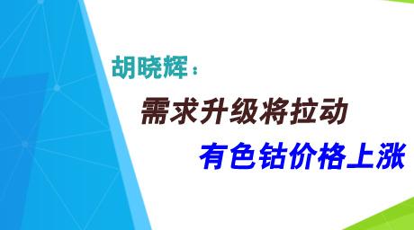 胡晓辉:需求升级将拉动有色钴价格上涨