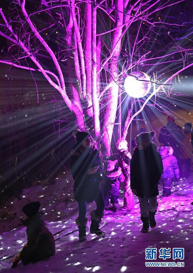 2018年12月31日,在芬兰南部城市埃斯波,人们在灯光点缀的公园内游玩。