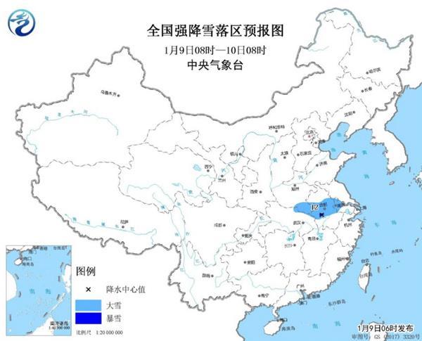 暴雪蓝色预警:豫鄂苏皖部分地区有大雪 局地暴雪