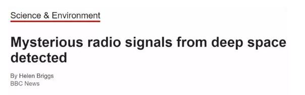 BBC:宇宙深处的神秘信号被探测到