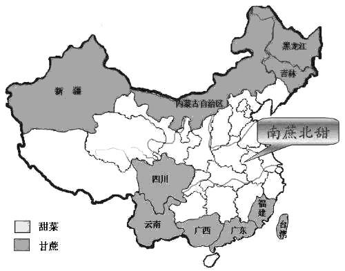 图为吾国糖料生产分布