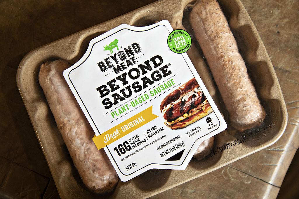 美国伊利诺斯州蒂基勒瓦,人造肉制造商Beyond Meat的产品。
