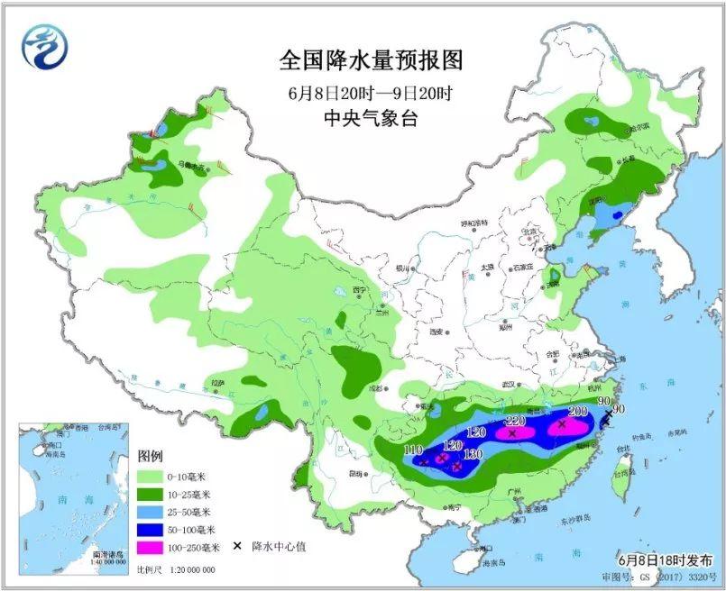 其中,福建西北部、江西中部、湖南东部和西南部、贵州东南部、广西北部片面地区有大暴雨,局地并伴有雷暴大风等强对。流天气。