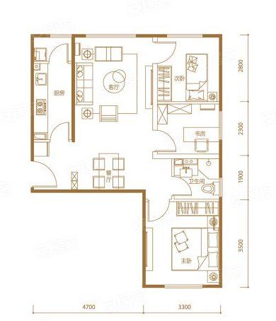 89㎡3室2厅1卫0厨户型
