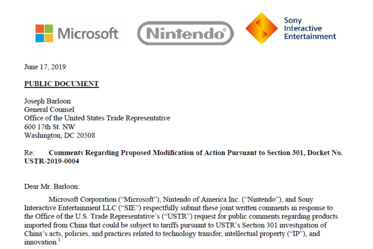 微软、索尼、任天堂发表联合声明:反对美国政府向中国生产的游戏机征收25%的关税