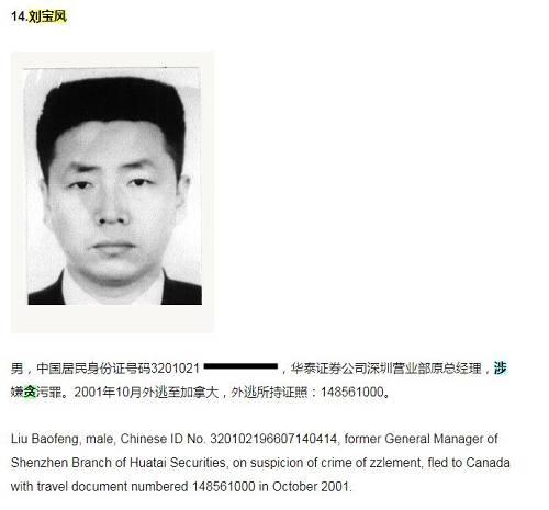 当时公布的信息是刘宝凤,华泰证券公司深圳营业部原总经理,涉嫌贪污罪。2001年10月外逃至加拿大,外逃所持证照:148561000。