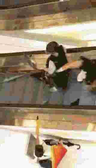而在沙田新城市广场(商场)外,有暴徒拆下栏杆筑起路障,并手持削尖竹枝站在前排。待警方推至商场内,又遭商场2层暴徒投掷危险物品,一名警员当场被硬物击中晕倒。