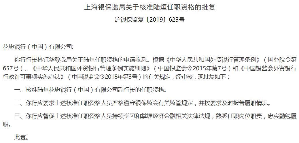 花旗银行(中国)副行长陆烜任职资格获批 曾任上海分行行长