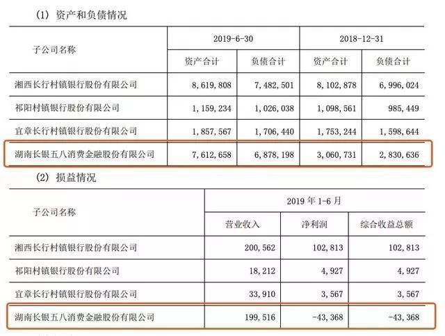 长银五八消金2019上半年业绩:营收同比增长430.59%,净亏损0.434亿