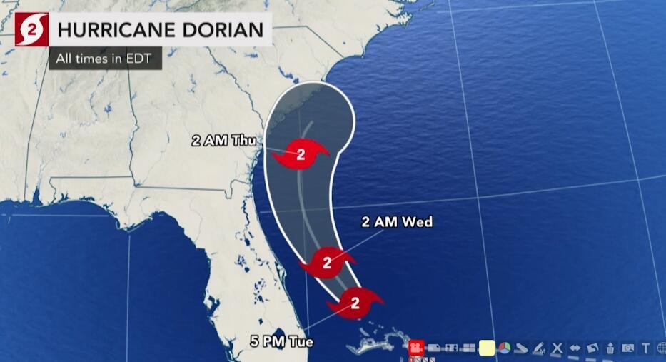 """超级飓风""""多里安""""横扫美国东海岸 多机场关闭"""