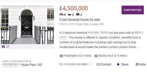这套房子一个周前才挂出来,售价450万英镑,5个卧室,占地面积267平方米,换成人民币的单价是14.8万元/平。比深圳湾的单价还低了2万人民币。