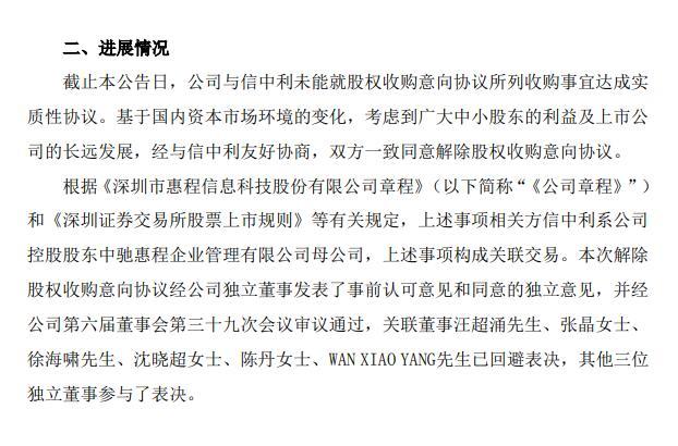 惠程科技放弃收购北京信中利进军私募股权投资领域受挫