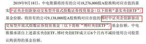 中电熊猫承诺自上述嘉实央创ETF、博时央创ETF成立后6个月内不减持使用公司股票认购获得的基金份额。