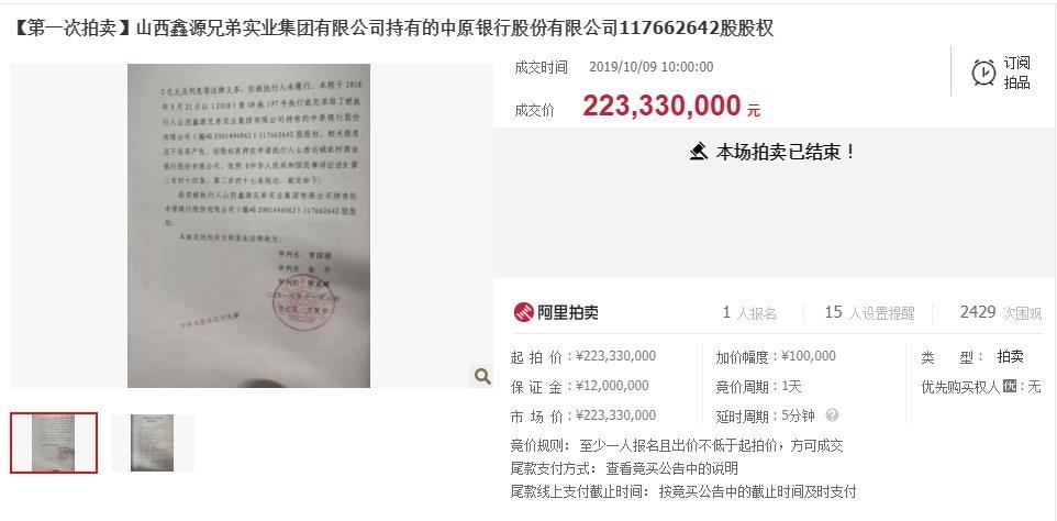 1.18亿股权被拍卖,旗下消金公司收到罚单,中原银行怎么了?