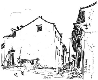 古街手绘图片