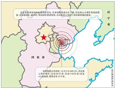 唐山4.5级地震 京津部分地区有震感