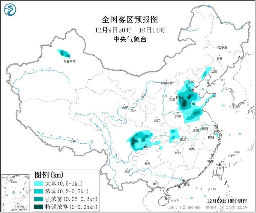 大雾黄色预警 河北河南山东等省局地能见度不足50米