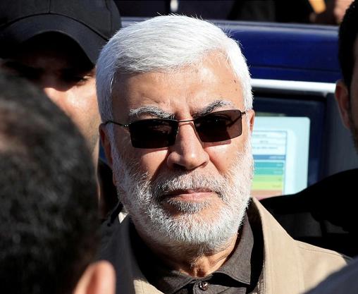 图为伊拉克人民动员结构领导人阿布·迈赫迪·穆罕迪斯