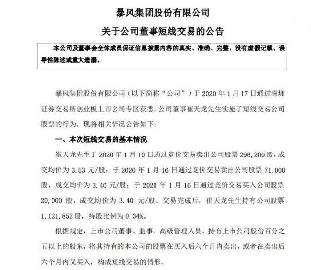 暴风集团董事实施短线交易股票 崔天龙持股比例将为0.34%