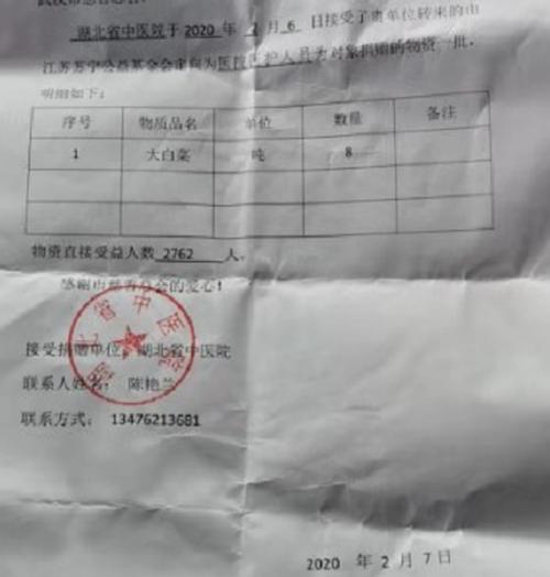 (圖:湖北省中醫院接收到了蔬菜)