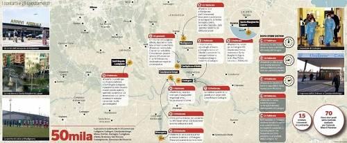 """意大利媒体公布的""""一号病人""""走动轨迹图图中文字外示有5万人、10个城镇受到他的影响"""