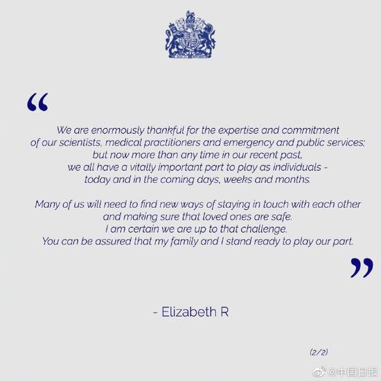英国女王发话了!呼吁民众团结一致对抗疫情
