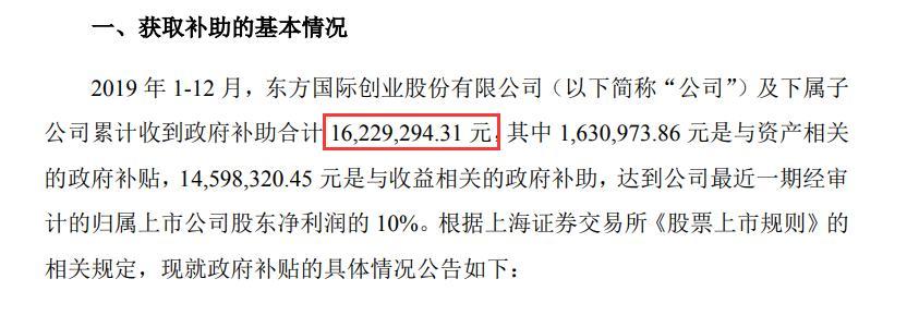 东方创业及下属子公司收到政府补助合计1623万元