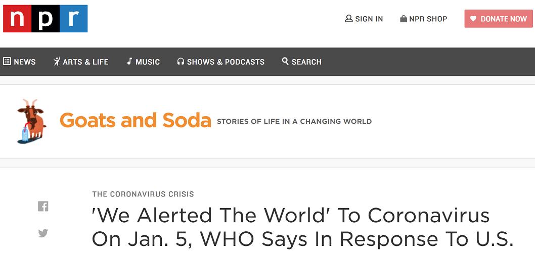 美国国家公共广播电台(NPR)发外文章《世界卫生布局回复美国:吾们已于1月5日向全球公布了新冠病毒的相关信息》(图片来源:NPR)