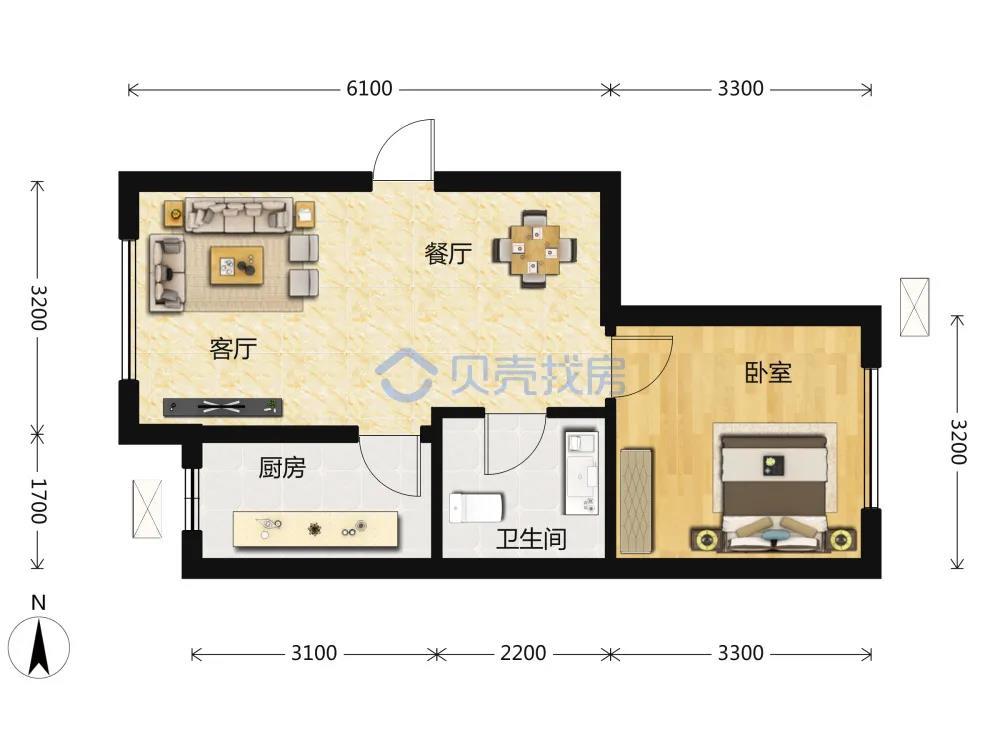 50�O1室2厅1卫户型图(来源:贝壳找房)