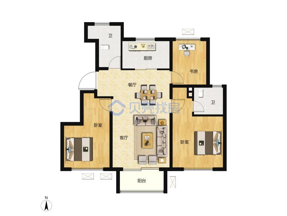90�O3室2厅2卫户型图(来源:贝壳找房)