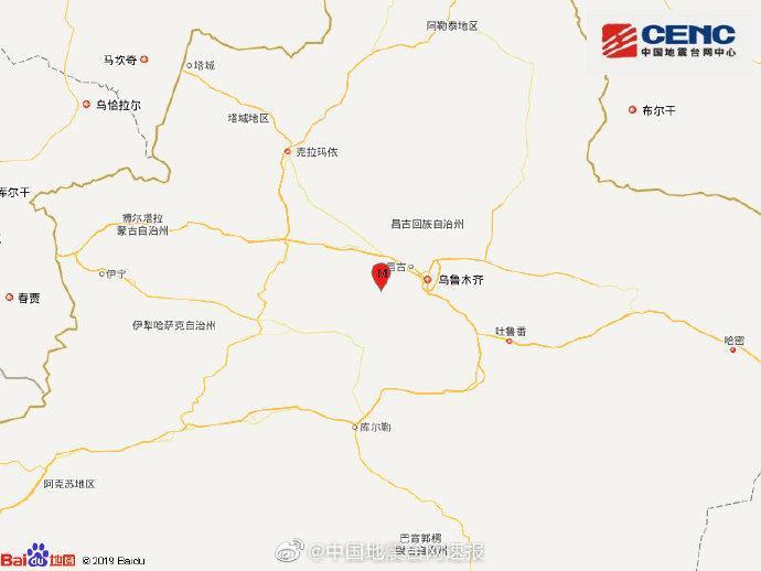 新疆昌吉州呼图壁县发生3.3级地震 震源深度25千米