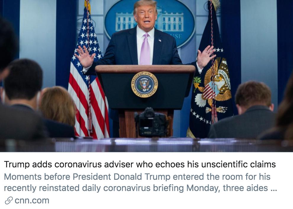 """特朗普为疫情简报会请来了新顾问,被指""""反福奇"""""""