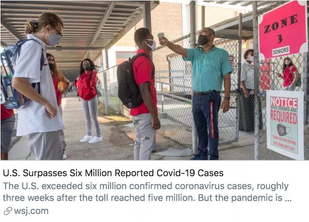 美国新冠疫情确诊超603万,新增100万仅用时22天