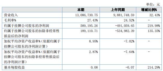 大宏智能2020年上半年营收约1308.7万元 期末总资产增长9.37%
