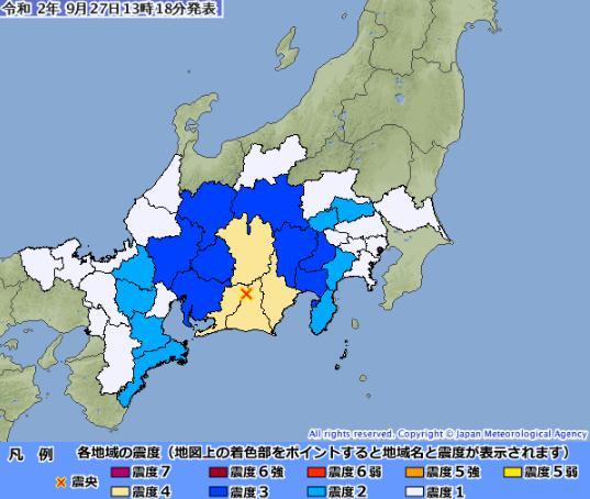 日本静冈县发生5.3级地震 新干线紧急停运