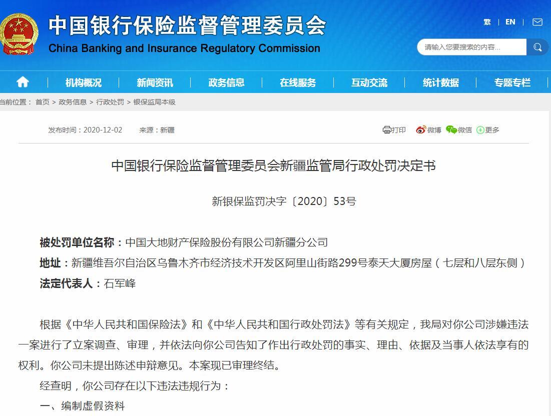 迪达财险新疆分公司两次违规罚款80万 新车险业务暂停三个月