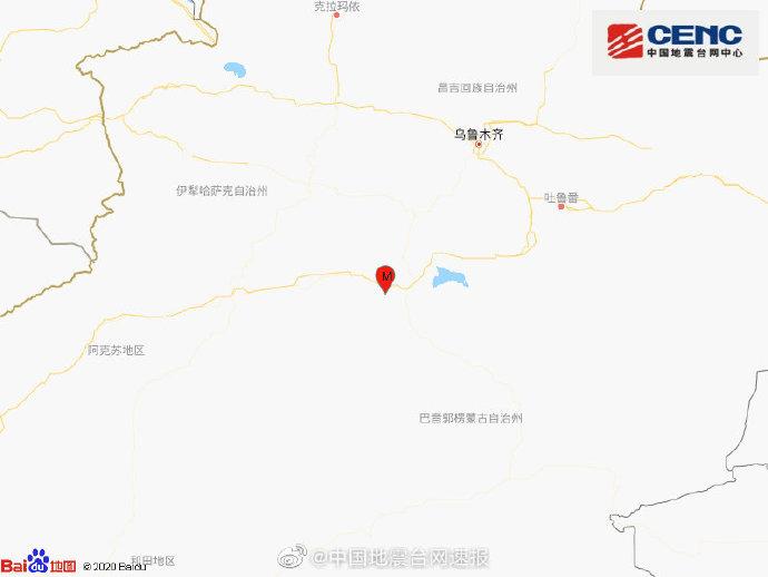 新疆巴音郭楞州库尔勒市发生3.2级地震 震源深度12千米