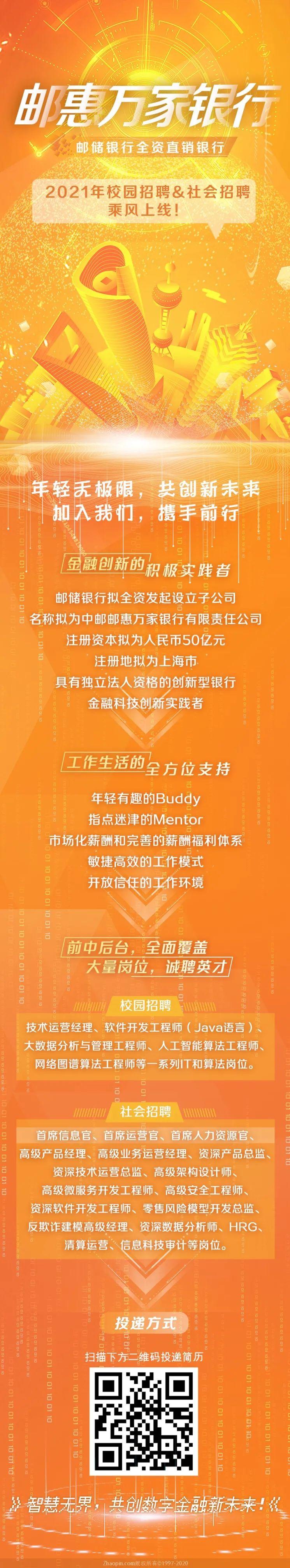 usdt自动充值(www.caibao.it):邮惠万家银行2021年校园招聘&社会招聘