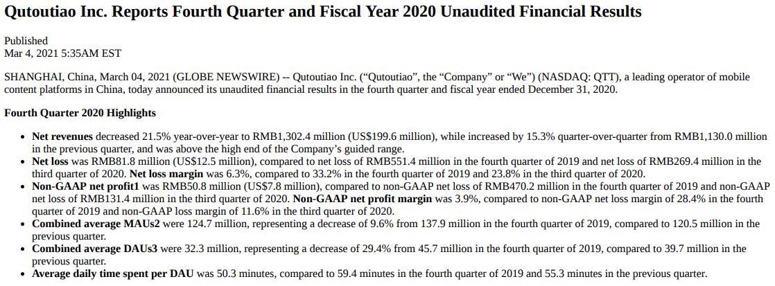 趣头条2020年Q4及全年财报:迎上市后首次季度盈利,米读获C轮融资