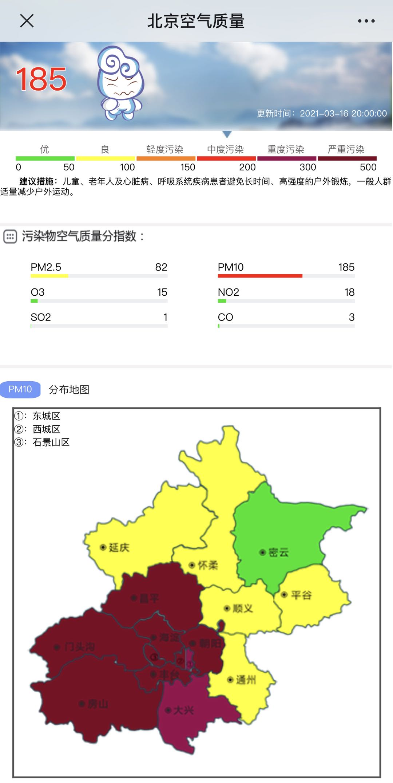 沙尘暴蓝色预警!北京八区达严重污染 未来多地仍扬沙