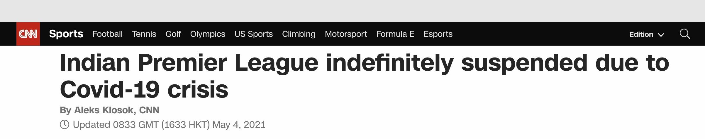 快讯!因疫情危机,印度板球超级联赛暂停
