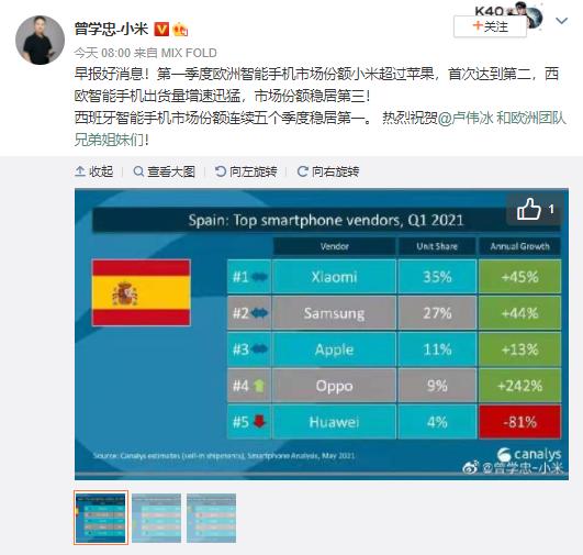 小米集团副总裁曾学忠:一季度欧洲智能手机市场份额小米超过苹果