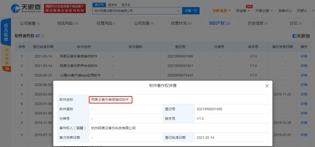 又有新App?网易云音乐登记音频指纹软件著作权