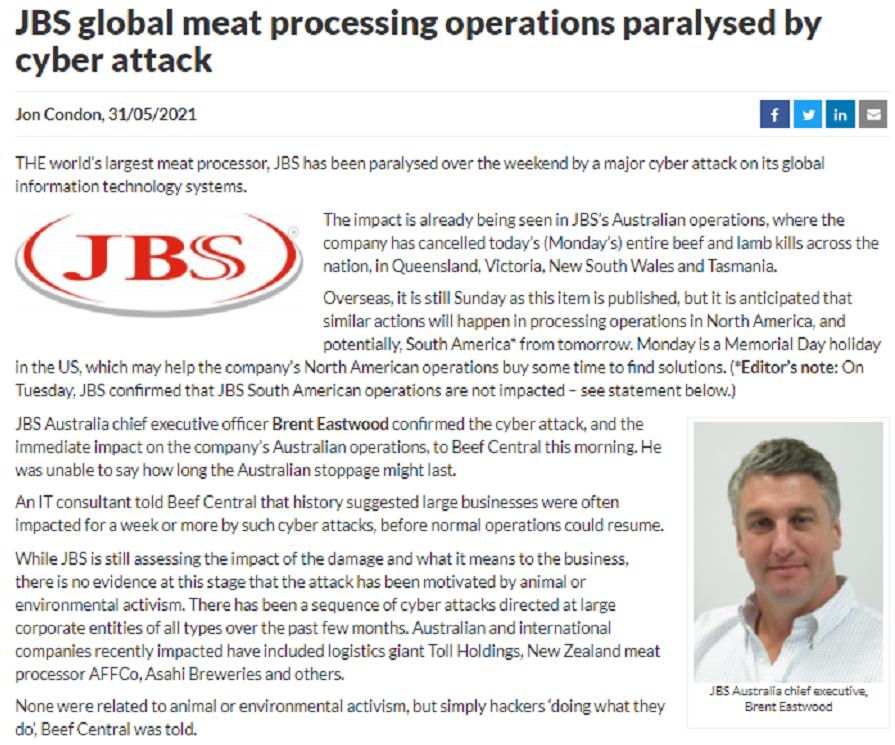 又是勒索软件?全球最大肉类供应商JBS遭黑客攻击 多地暂停作业