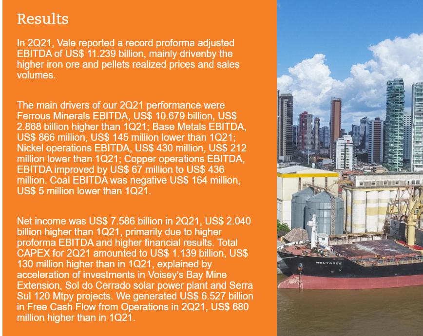 受益于铁矿价格大涨 淡水河谷Q2净利同比涨逾600%