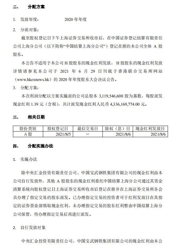 新华保险将于8月6日派发现金红利 每股1.39元