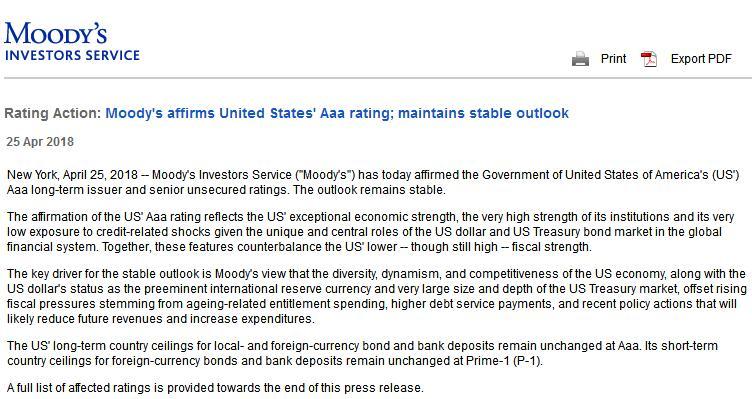 穆迪:维持美国Aaa顶级信用评级维持稳定展望不变